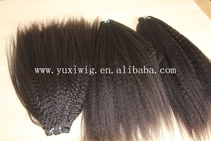 yuxi hair new products wholesale :brazilian remy hair afro kinky straight hair extensions for black women