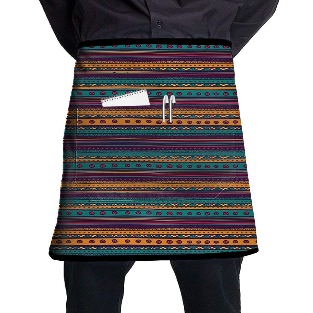 Guiping Striped Retro Aztec Pattern With Rich Mexican Ethnic Color Folkloric Print Kitchen Apron With Pockets For Men And Women