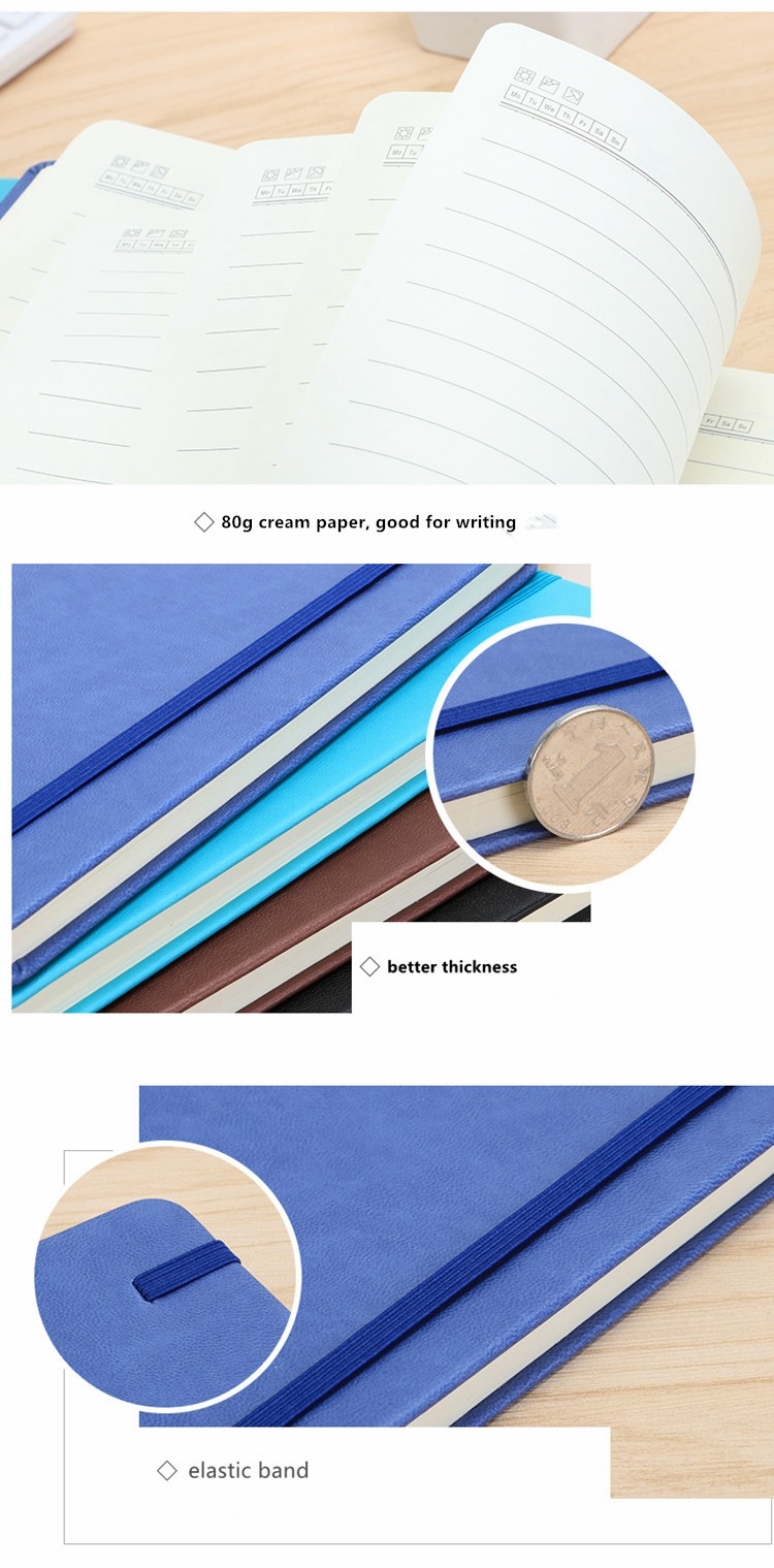 2019 A5 Dot Grid Hard Cover PU Leather Custom Printing Notepad Diary Weekly monthly Daily Note Book Journal Notebook Planner