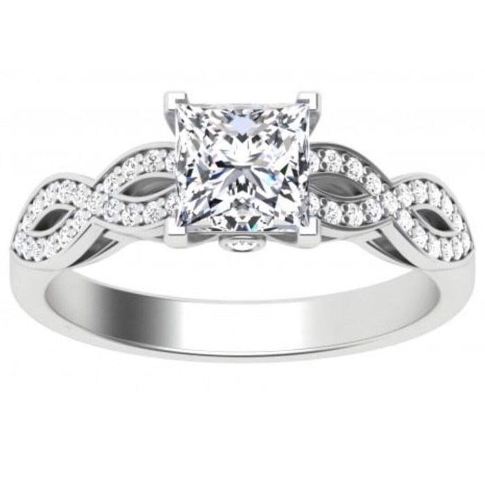 1.8 Ct PRINCESS CUT Panier Wedding Engagement Ring Set Taille 5 6 7 8 9 10