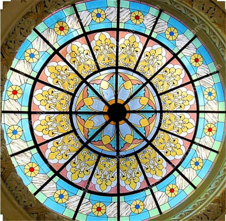 Blue Flower Design Stained Glass Ceiling Skylight Dome