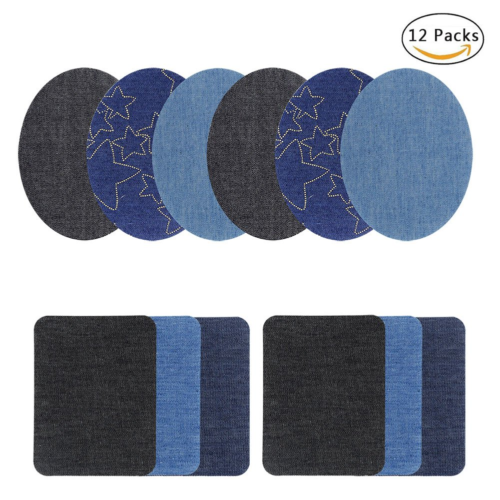 Iron on Denim Patches for Clothing Jeans No-Sew Denim Patches Iron-On Repair Kit, Assorted, 12 Packs