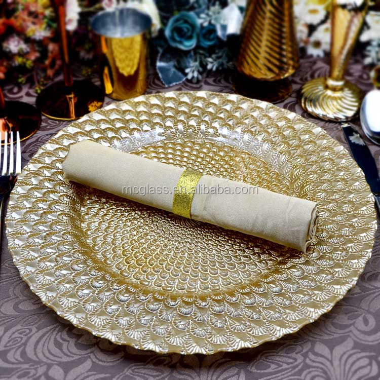 Hot Selling Newest Elegant Gold Peacock Glass Wedding Charger <strong>Plate</strong> Wholesale