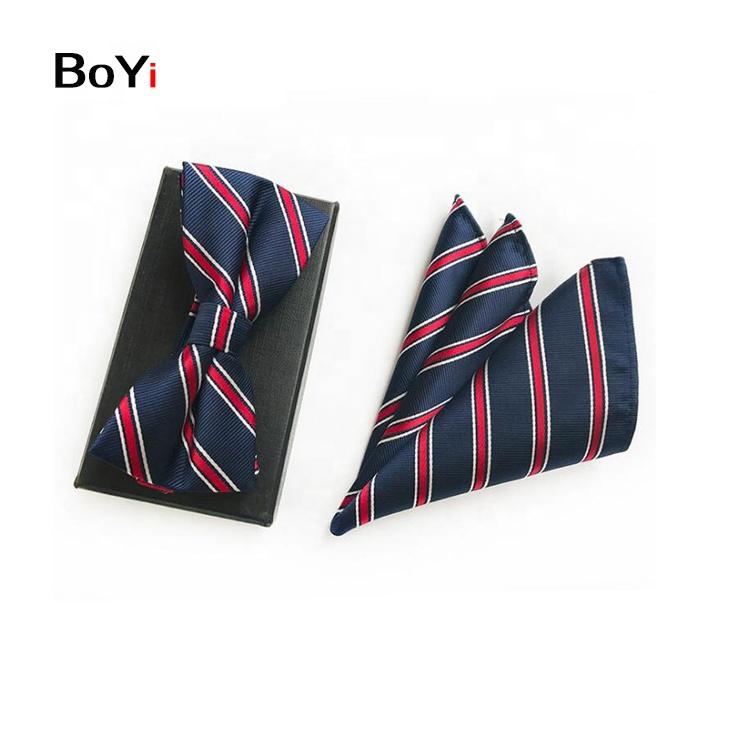 Hot Sale Custom Silk Bowties And Handkerchief Set For Men Gift
