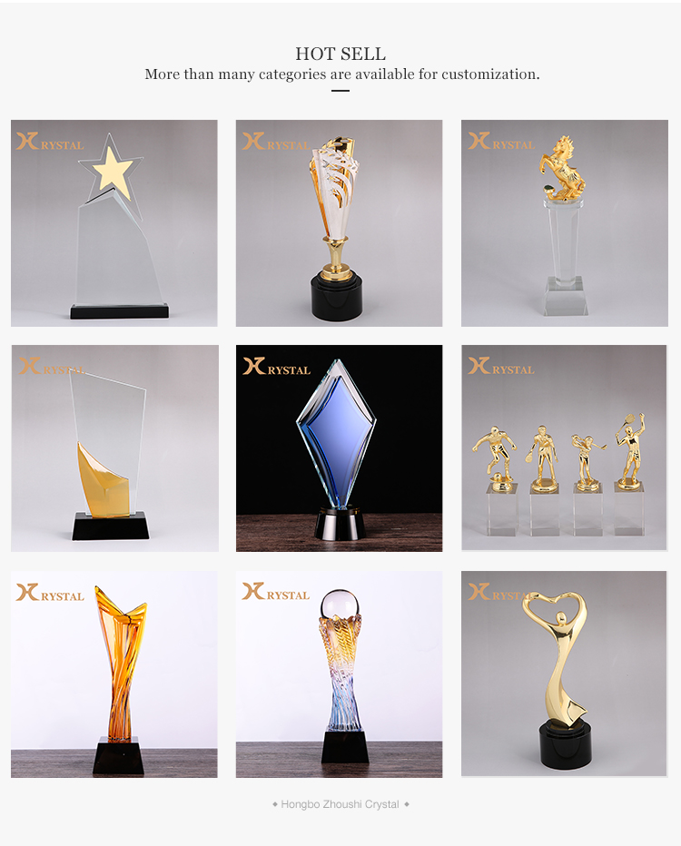 Wholesale Luxury Antique European Crystal Golden Sport Honor Trophy Cup