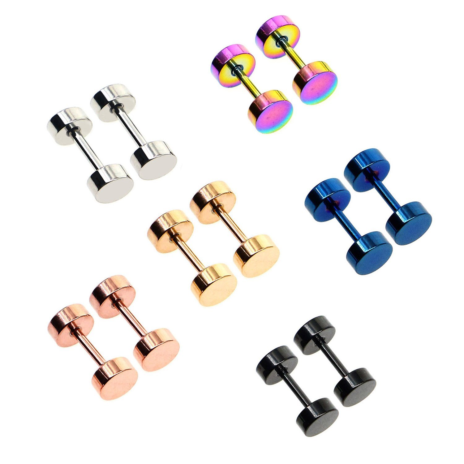 Awinrel 4mm-14mm Mens Womens Stud Earrings Fake Plugs Cheater Illusion Ear Gauges Tunnel 7 Pairs