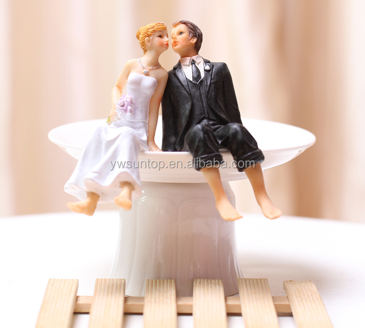 Whimsical Sitting Bride And Groom Wedding Cake Toppers