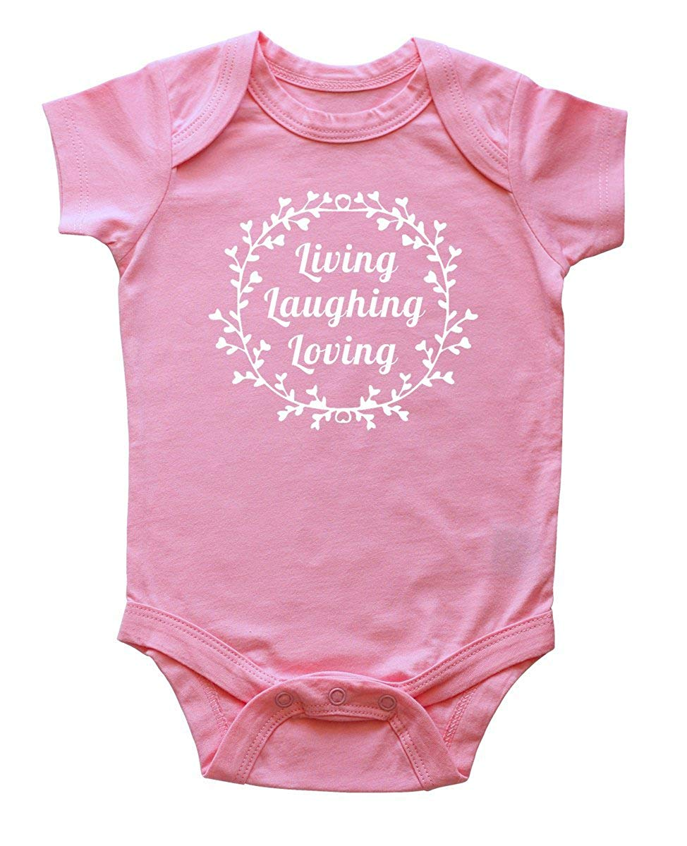 """Living, Laughing, Loving"" Baby Bodysuit"