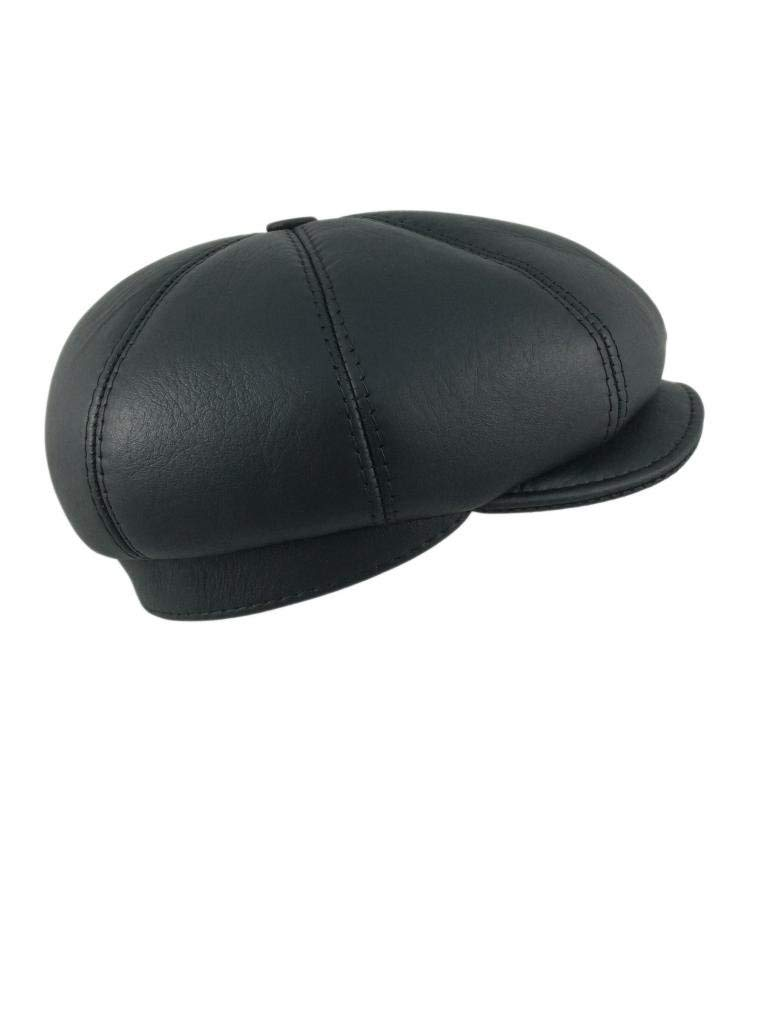 3a533cf037c Get Quotations · Zavelio Men s Leather Shearling Sheepskin 8 Panel Ivy  Driving Cap