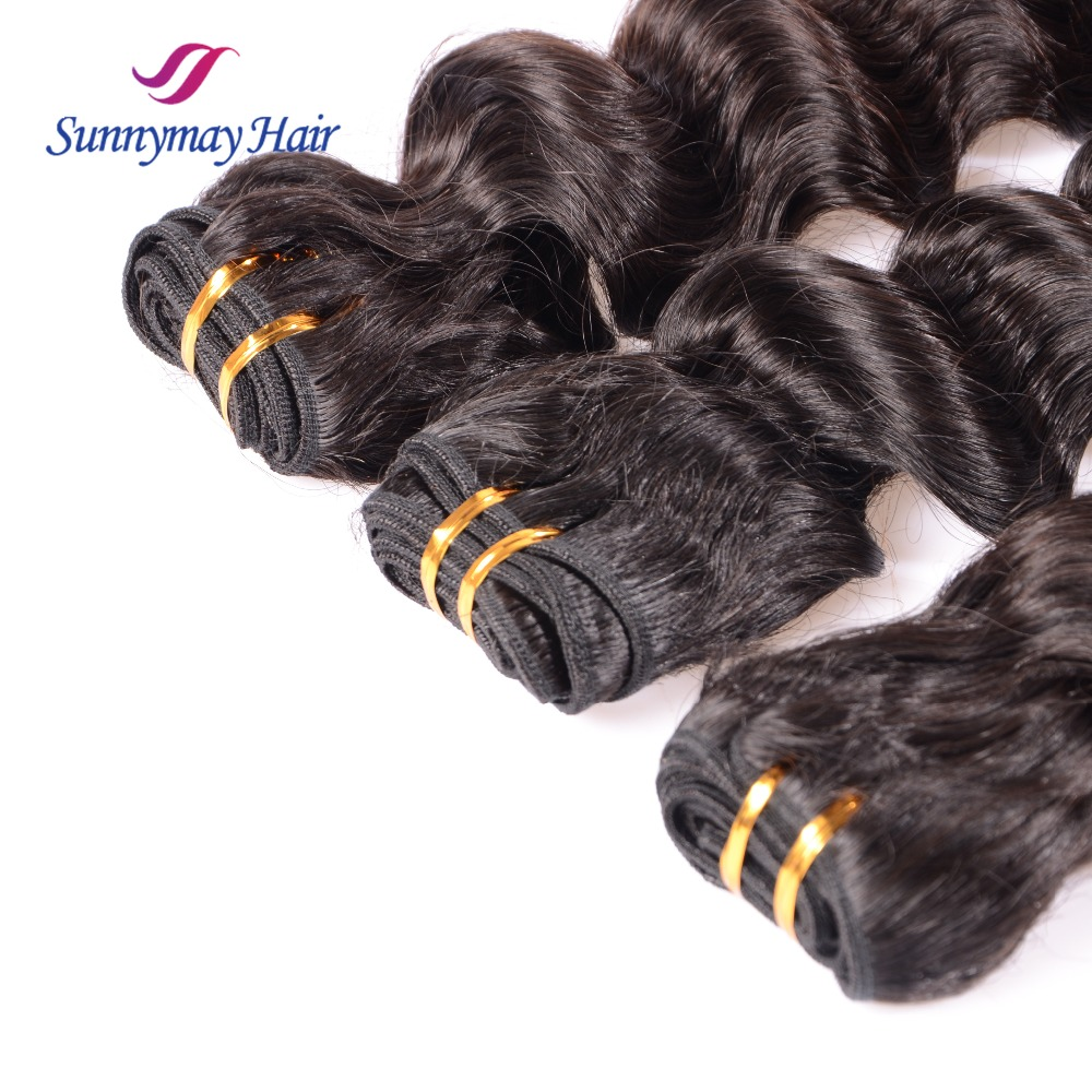 Sunnymay Supplies Deep wave Virgin Hair Extension Brazilian Human Hair Raw Unprocessed Virgin Indian Hair Extension