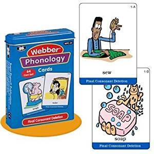 Webber Illustrated Phonology Final Consonant Deletion Minimal Pair Card Deck - Super Duper Educational Learning Toy for Kids