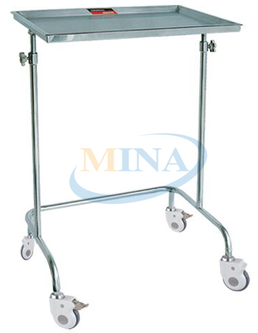 MINA MT007 Stainless Steel Mobile Hospital Bedside Tray Table