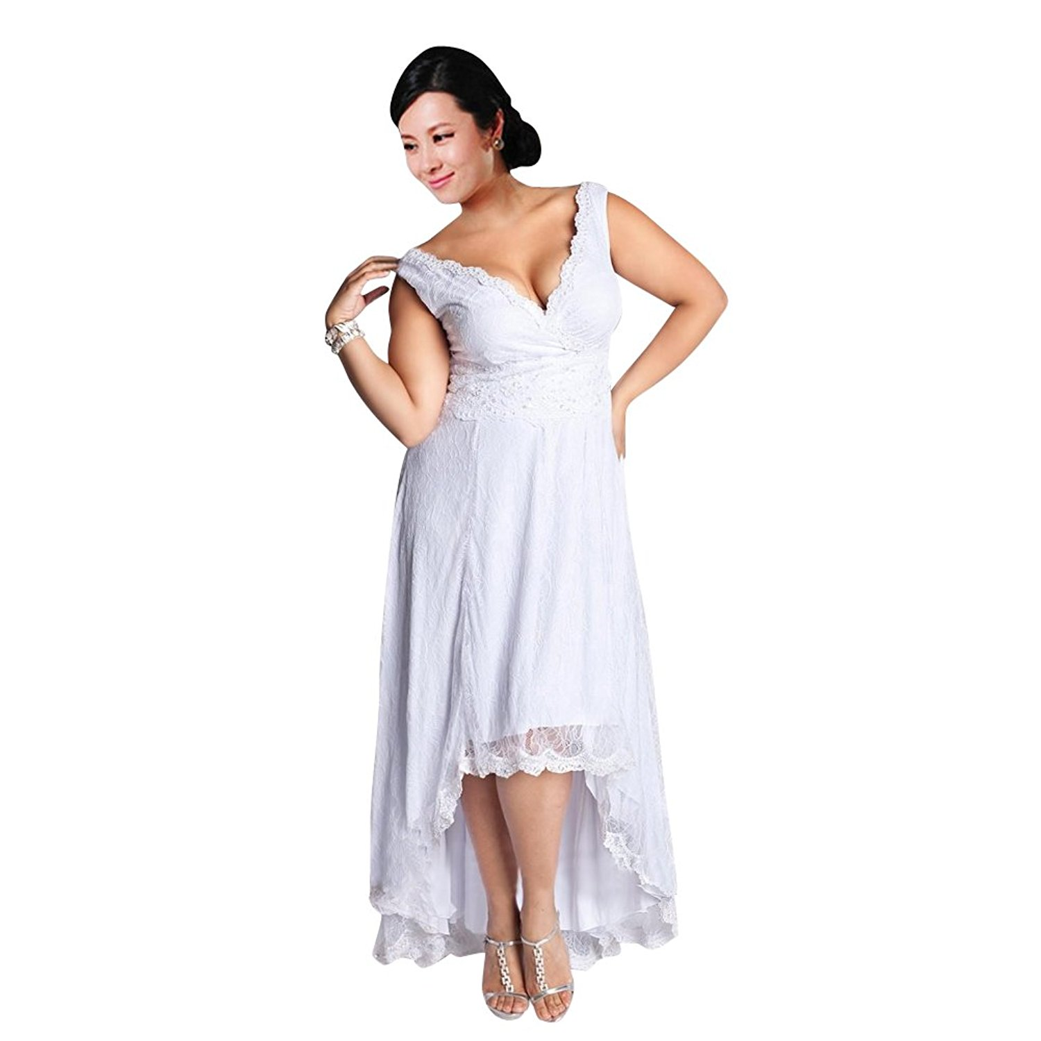 Mollybridal Women's Plus size Lace Short Wedding Dresses V neck