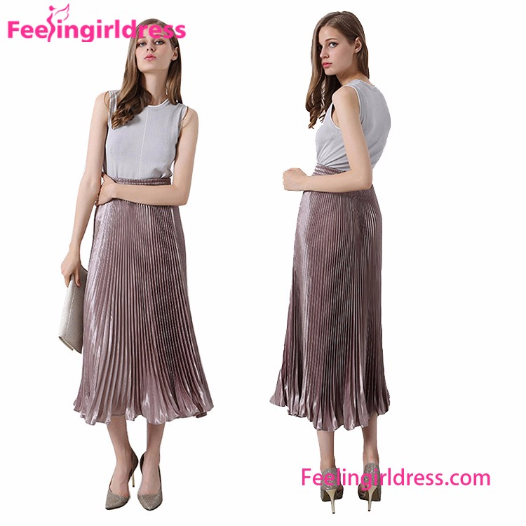 New Fashion Women Summer Silk Ladies High Waist Pleated Skirt