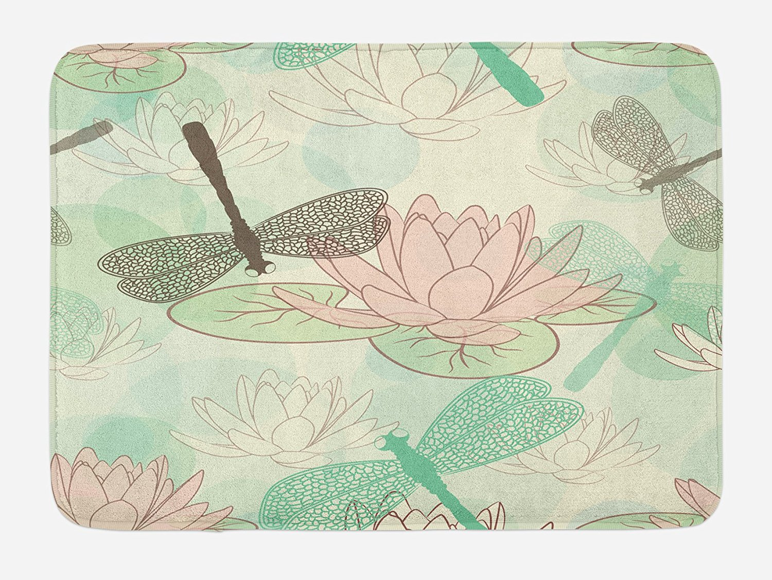 Get Quotations · Dragonfly Bath Mat By Lunarable, Floating Water Lily And  Dragonfly Figures On The Lake In