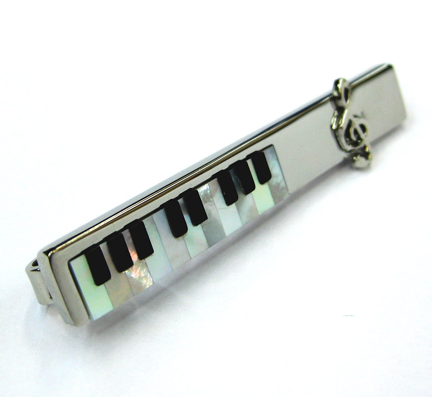 Cherry Wood Tie Bar Engraved in The USA Wooden Accessories Company Wooden Tie Clips with Laser Engraved Melodica Design
