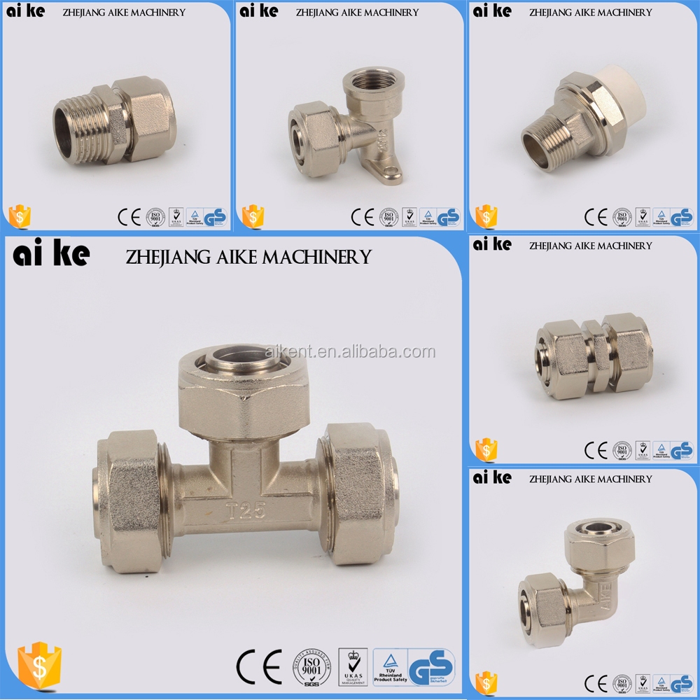 nickel plated tee brass fitting forged male female elbow coupling pipe fitting/thread branch tee/thread union