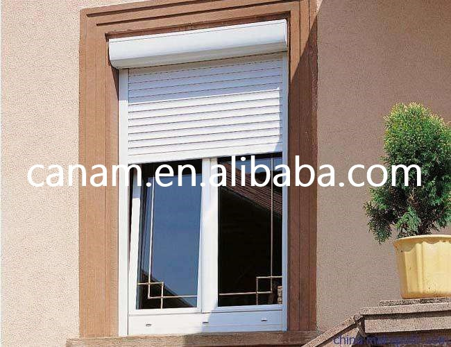 Heat insulated roller shutter exterior window with 55mm aluminum foam slats