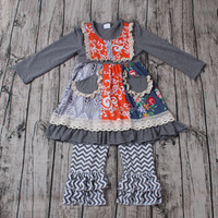 Lovely Girls Cotton Dress gray skirt the ruffles is cotton lace have flower and pockets wholesale baby chic clothing