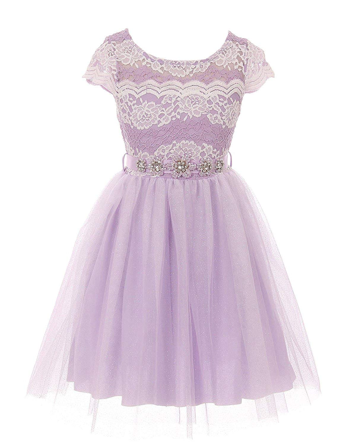 35b2ff1e9a4 Get Quotations · iGirldress Girls Floral Lace Tulle Skirt Holiday Party  Graduation Flower Girl Dress 4-14