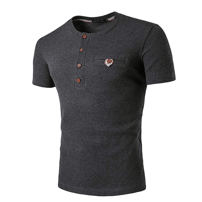 23e5ac21f1393f Get Quotations · LINGMIN Men's Button Placket Slim Fit Henley - Button  Placket Rib-Knit Short Sleeve T