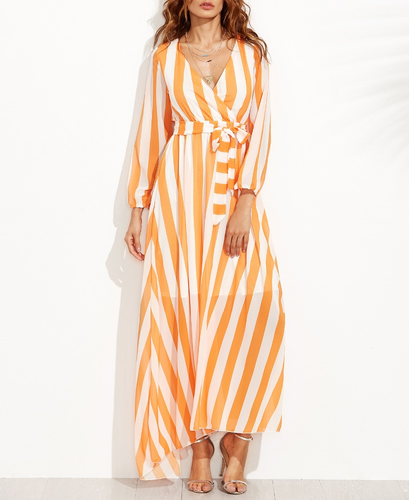Vertical Striped Deep V Neck Self Tie Long Dress