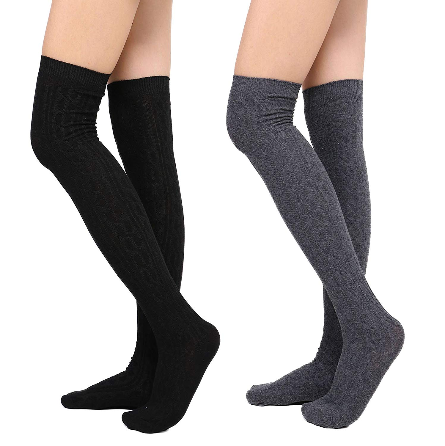 9ff8dab3cc8 Get Quotations · Womens Winter Cable Knit Over Knee High Tigh High Socks  1-3 Pairs