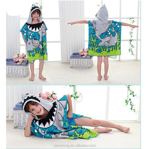 100% cotton hooded beach towel kids hooded poncho towel
