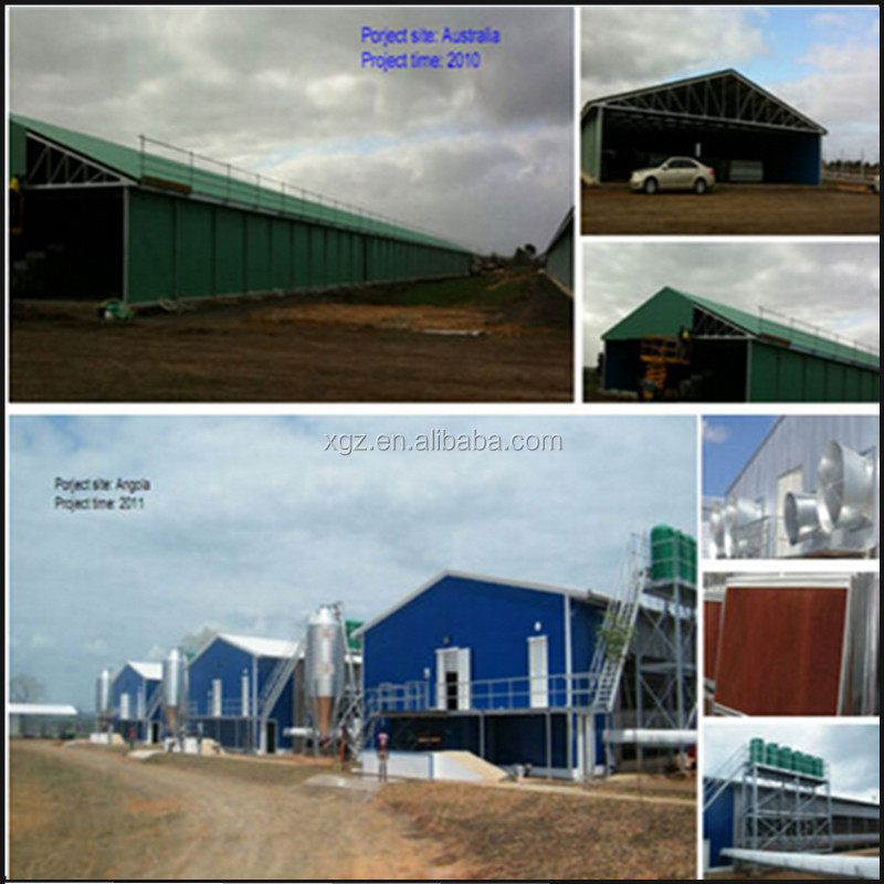 Prefabricated glaverniserd automatic equipments commercial poultry chicken house