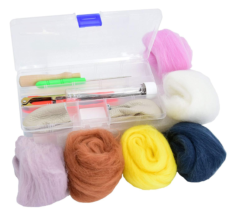 Ancefine Needle Felting Starter Kit Basic Wool Felt Tools with 6 Colors Wool Roving Felting Kit