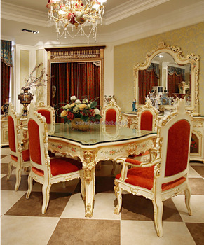 Luxury French Rococo Style Angel Dining Table Set/ Antique Palace Wood  Carved Hand Painted Table Part 86