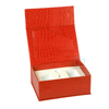 custom luxury caviar packaging red pu leather magnetic gift box