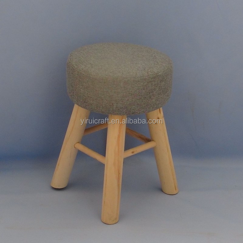 round pouf upholstered padded ottoman foot stool/vintage wooden fabric stool detachable fabric with 4 pine leg stands grey