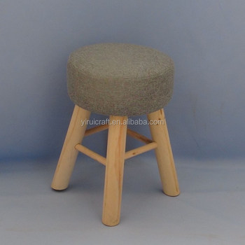 Surprising Round Pouf Upholstered Padded Ottoman Foot Stool Vintage Wooden Fabric Stool Detachable Fabric With 4 Pine Leg Stands Grey Buy Foot Stool With Soft Alphanode Cool Chair Designs And Ideas Alphanodeonline