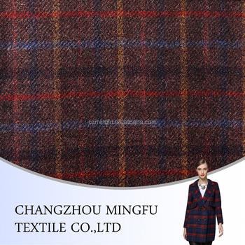 Black Red Grey Yellow Grenn Blue Check Woolen Cloth Fabric Wool