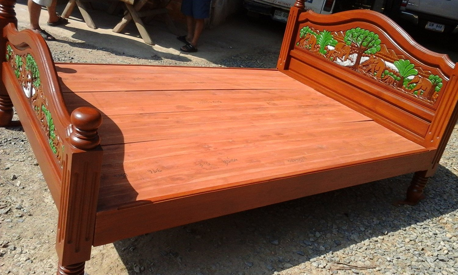 Buy Modern King Queen Size Carving Solid Teak Wood