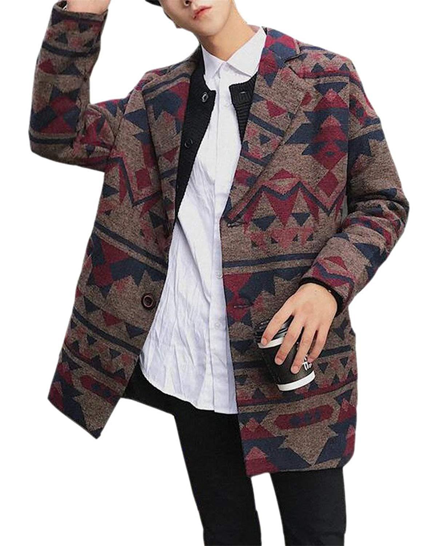 a7d0d6d15e6ad Get Quotations · Jaycargogo Men's Casual Wool Blend Pea Coat Print Two  Button Lapel Pea Coat Overcoat