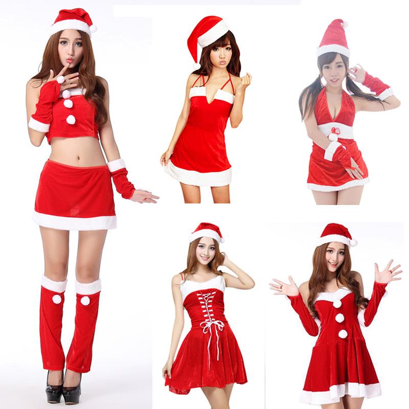 f30a199ae 5 estilos rojo Navidad vestido de cosplay sexy santa trajes de disfraces de  halloween para las