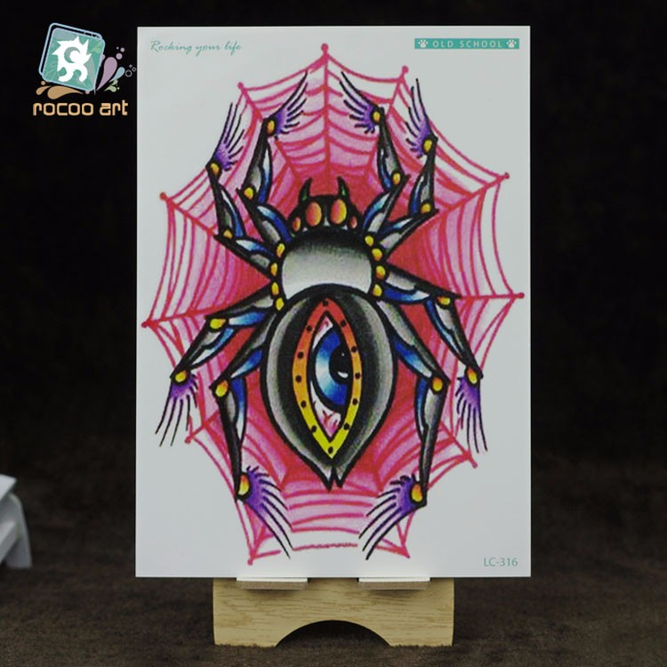 LC-316/Horror Spider Red Web Temporary Tattoo Designs Stickers With Big Eye Tatoo