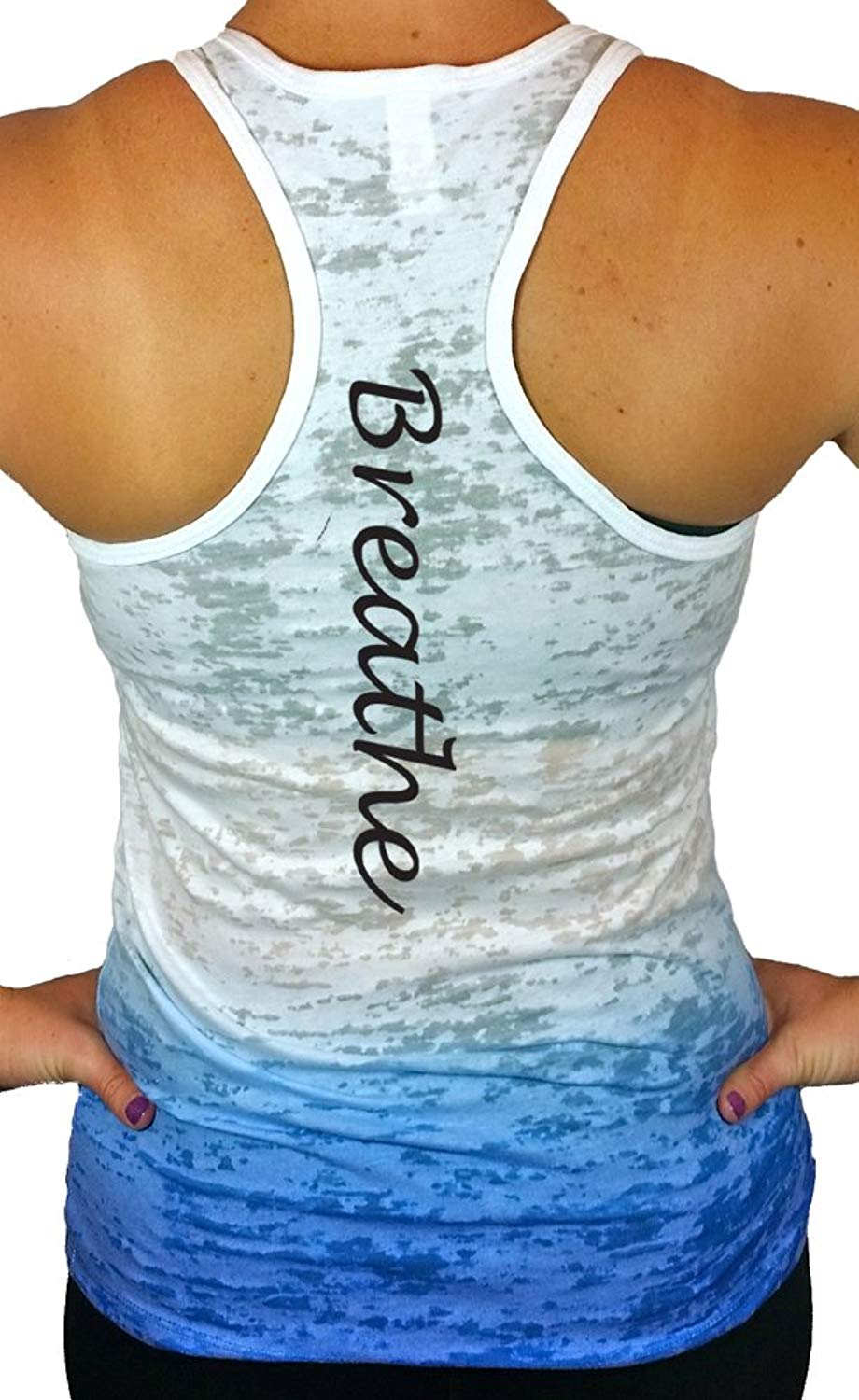 c09780d3308 Women s Yoga Tank Tops - Breathe Workout Ombre Burnout Racerback Cute Yoga  Tops
