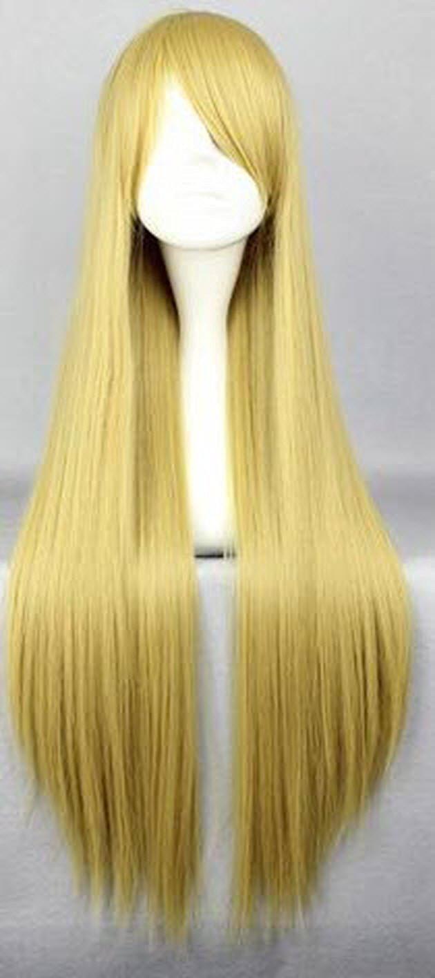 SMILE Cosplay Anime Wigs 80cm Long Naruto-Tsu Na Te Blonde straight Anime Cosplay Costume Wig