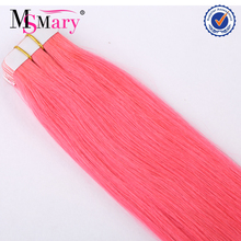 China hair factory 40 pieces per pack tape hair pink brazilian human hair extensions