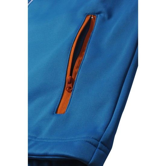 microfiber and fleece 3-layer breathable boy blue softshell jacket