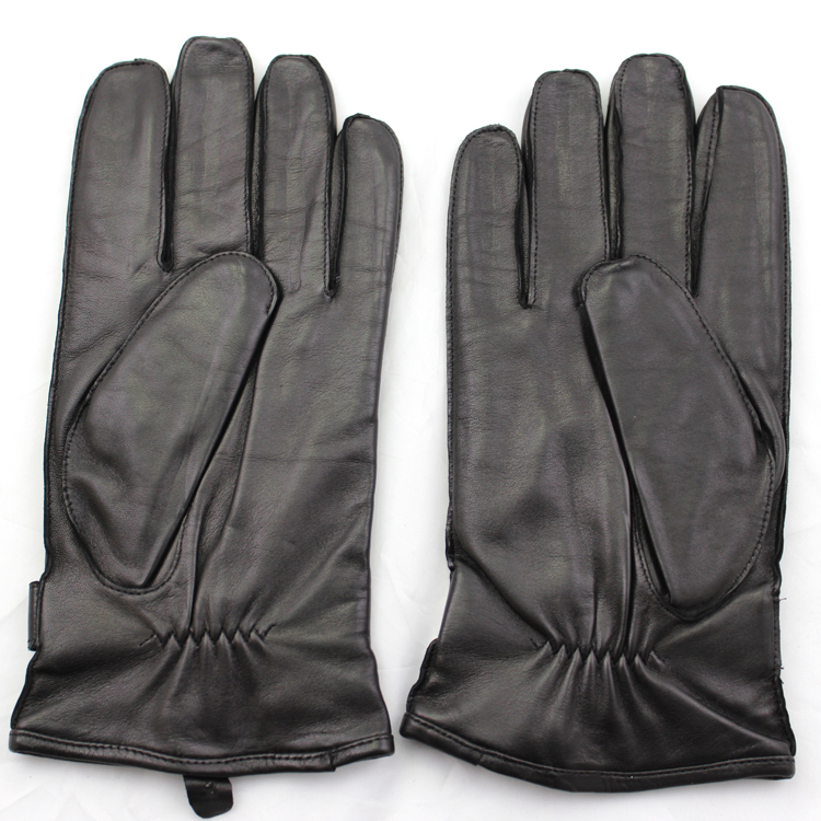 Men 's touch screen leather gloves with leather belt and woolen lining