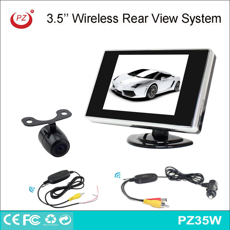 easy install wireless rear view car camera with 3.5'' lcd monitor receiver