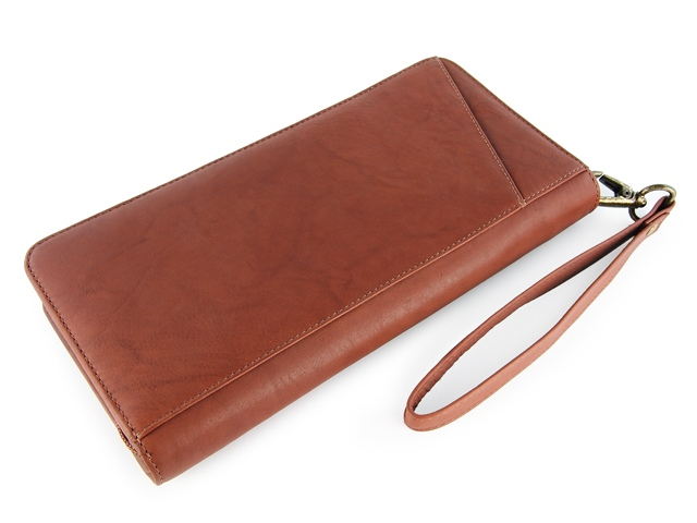Fashion faux leather zippered travel wallet travel ticket document wallet