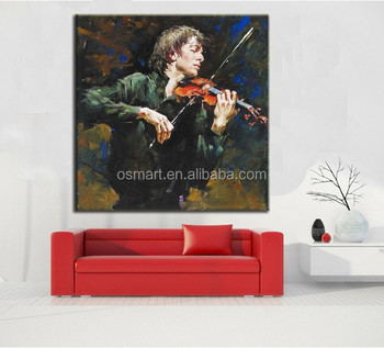 Wall Art Oil Painting On Canvas Ideas For Modern Paintings Handsome Male With Music Instrument