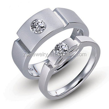 High Quality With Low Price Wedding Ring Sets Silver Stainless Steel
