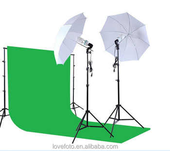 2 6*3m Studio Photography Chromakey Green Screen Background Photo Backdrop  Lighting Stand+umbrella+bulb+holder Accessories Kit - Buy Photo Studio