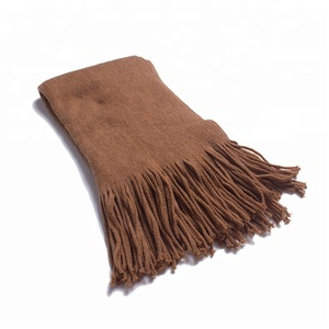 New long flowing comb pure color shawl imitated cashmere tassel scarf